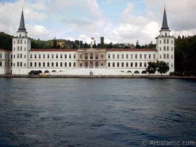 View of Kuleli coast and Kuleli Military School from the Bosphorus in Istanbul city of Turkey.