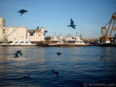 View of Haydarpasha train station from the sea in Istanbul city of Turkey.